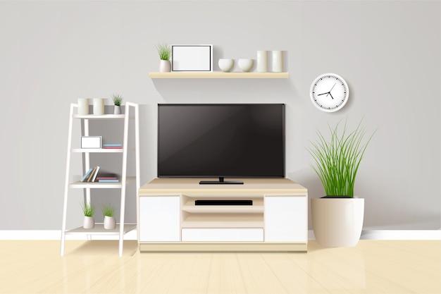 Tv op meubel in moderne woonkamer met tafel en plant