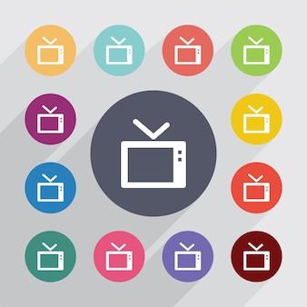 Tv, plat pictogrammen instellen. ronde kleurrijke knopen. vector