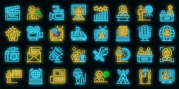 Tv-presentator pictogrammen instellen. overzicht set van tv-presentator vector iconen neon kleur op zwart