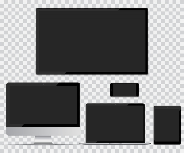 Tv-scherm, computermonitor, laptop, tablet en smartphone met leeg scherm