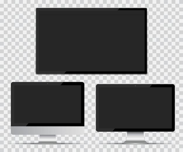 Tv-scherm en computerschermen met leeg scherm