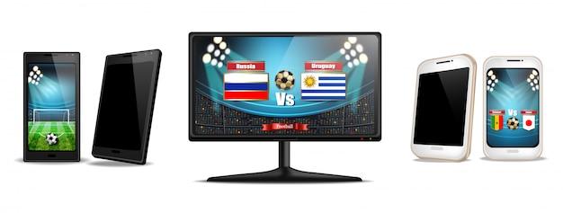 Tv-scherm en smartphone met voetbalwedstrijd