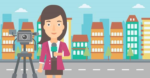 Tv-verslaggever aan het werk.