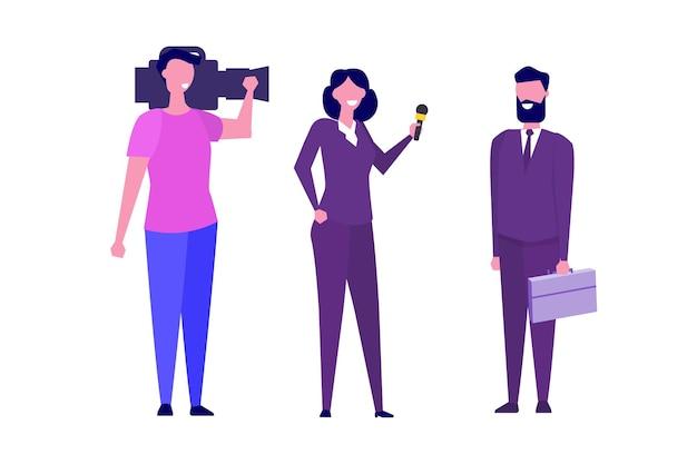 Tv-verslaggever karakter, journalist speciale correspondent en camera man concept. vector illustratie.