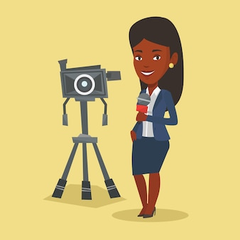 Tv-verslaggever met microfoon en camera.