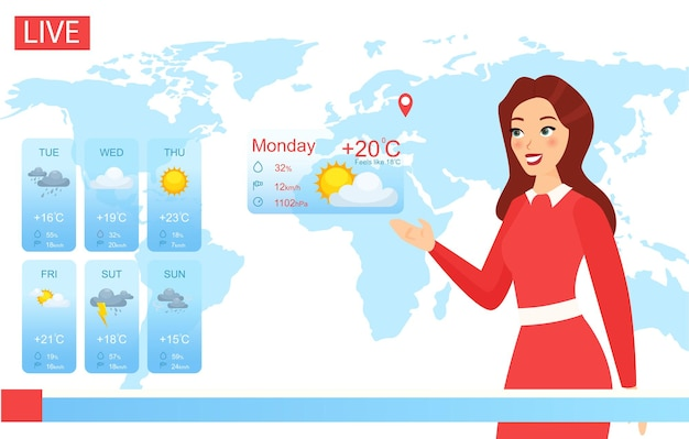 Tv-weerhost. cartoon aantrekkelijke vrouw rapportage over klimaatverandering in nieuws,