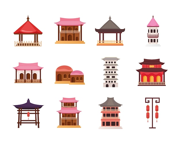 Twaalf aziatische architectuurset