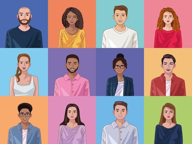 Twaalf diversiteit personen