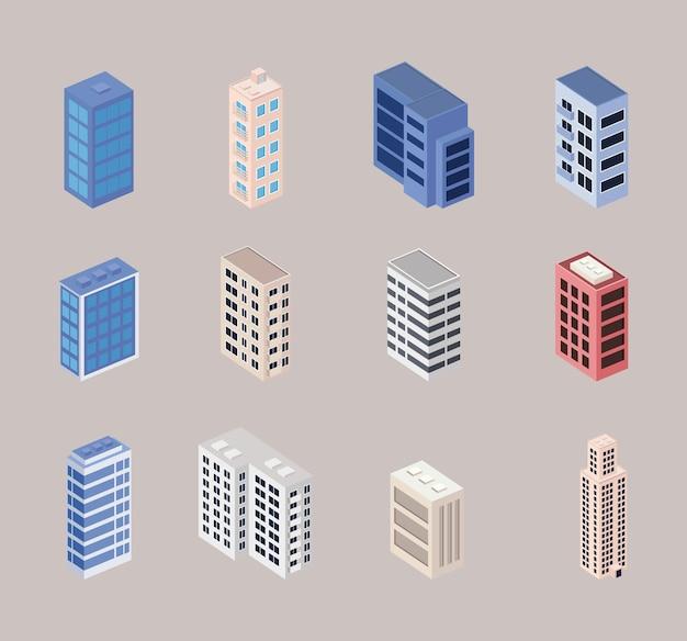 Twaalf isometrische gebouwen ingesteld