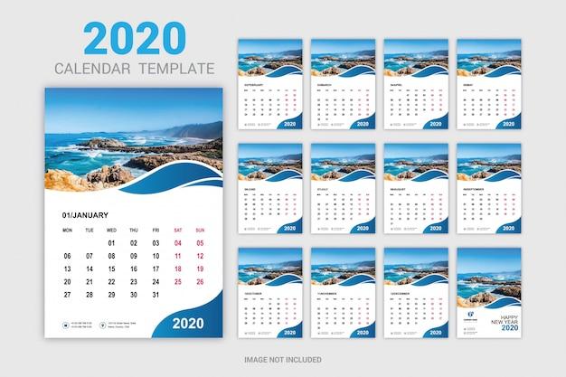 Twaalf maanden nieuwe jaarkalender voor muur en bureau