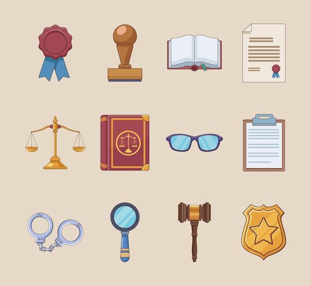 Twaalf pictogrammen voor justitiewetten