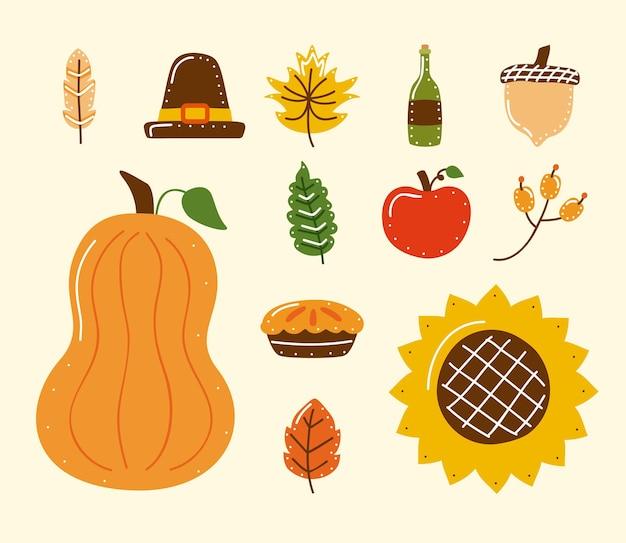 Twaalf pictogrammen voor thanksgiving-vieringen
