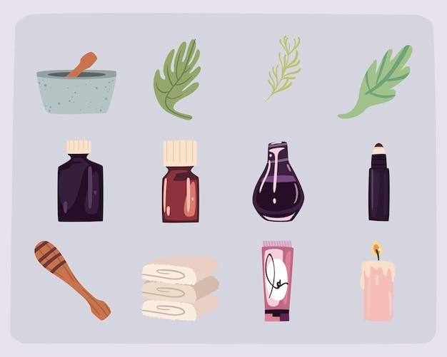 Twaalf spa wellness-pictogrammen