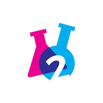 Twee 2 nummer lab laboratorium glaswerk beker logo vector pictogram illustratie