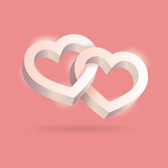 Twee 3d harten met elkaar verweven op roze achtergrond
