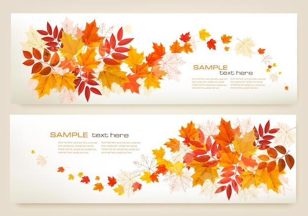 Twee abstracte herfstbanners met kleurrijke bladeren vector
