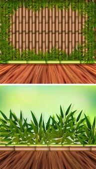 Twee achtergrond sjablonen met bamboe bos