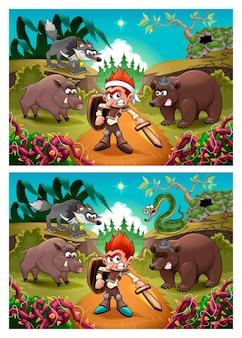 Twee afbeeldingen met zeven veranderingen ertussen, vector- en cartoonillustraties