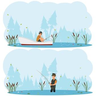 Twee afzonderlijke afbeeldingen over het thema vissen.