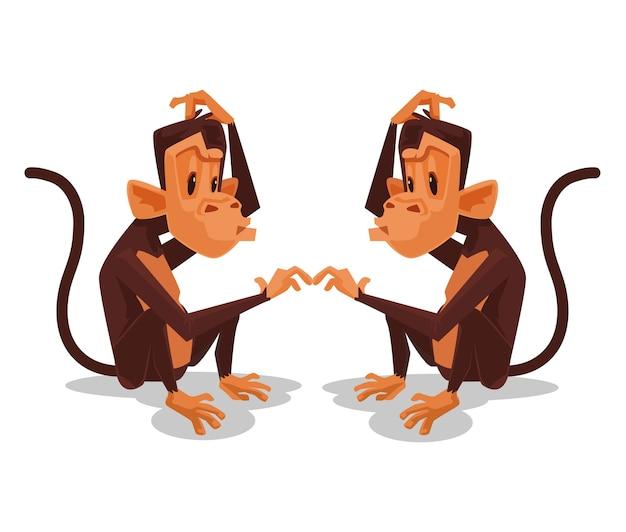 Twee apen kijken naar elkaar cartoon afbeelding