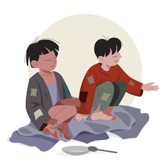 Twee arme kinderen. verdrietige kinderen in vuile en flauwe kleren die om hulp vragen. dakloze mensen.