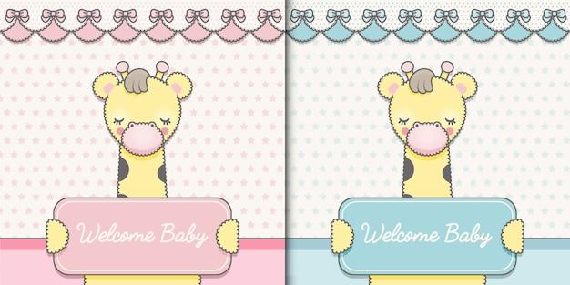 Twee baby shower-kaarten premium