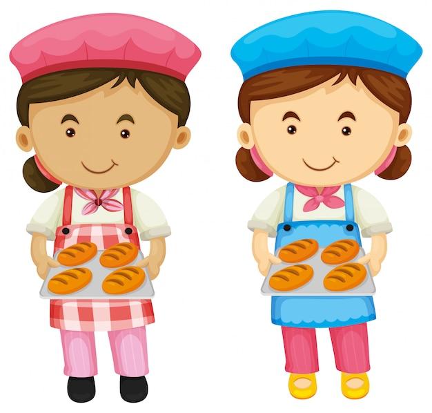 Twee bakkers die dienblad met brood houden