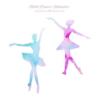 Twee ballerina's silhouetten
