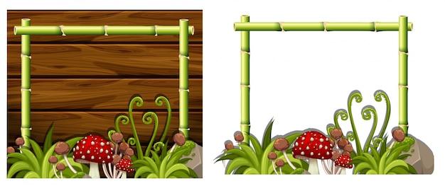 Twee bamboe frames met paddestoelen