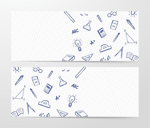 Twee banner met hand getrokken set doddles-benodigdheden op blad
