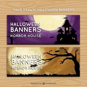 Twee banners met enge scènes voor halloween