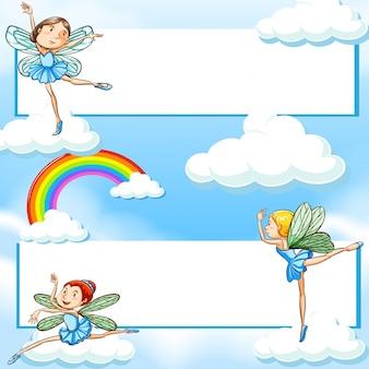 Twee banners met feeën die in blauwe hemel vliegen