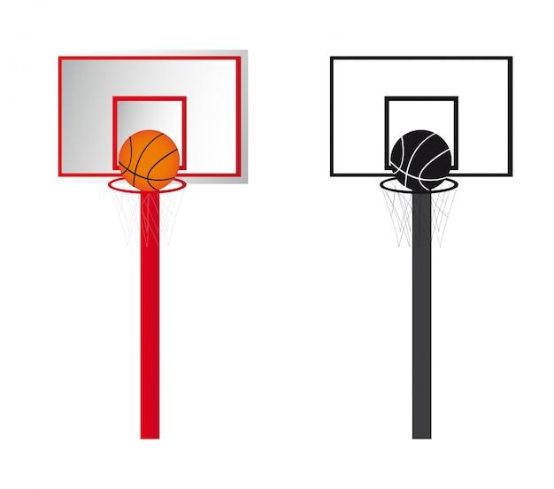 Twee basketbalaffiches die over witte vector worden geïsoleerd als achtergrond