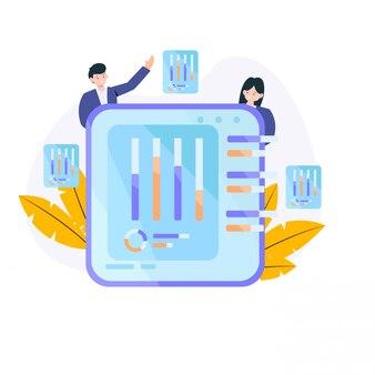 Twee bedrijfsmensen met grafieken op ilustration van het raadsconcept