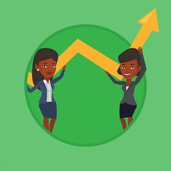 Twee bedrijfsvrouwen die de groeigrafiek houden. Premium Vector