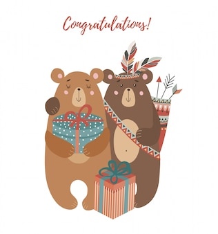 Twee beren: met boeket bloemen, tribale veren en geschenken