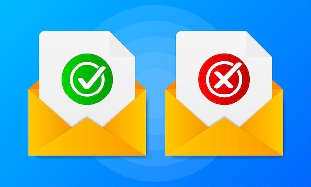 Twee bericht met ja of nee tekens op een blauwe achtergrond.