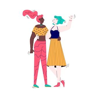 Twee beste goede vrienden of soulmates meisjes chatten vector illustratie geïsoleerd