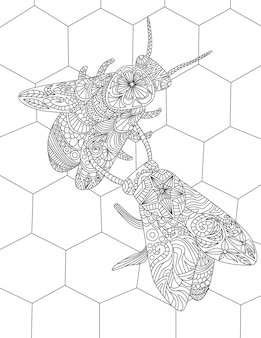 Twee bijen op een bijenkorf verzamelen honing kleurloze lijntekening hommels in een bijenkorf verzamelen
