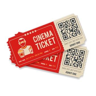 Twee bioscoopkaartjes met qr-code, kijker, popcorn en frisdrank