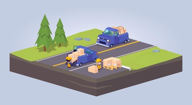 Twee blauwe pick-up 3d lowpoly-vrachtwagens