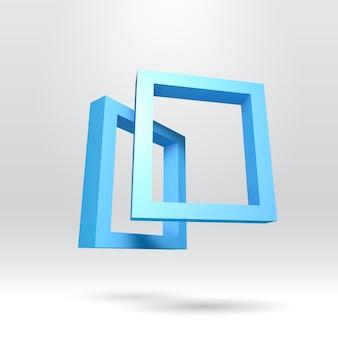 Twee blauwe rechthoekige 3d-frames