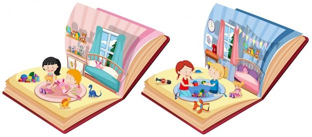 Twee boeken met kinderen in slaapkamerscène