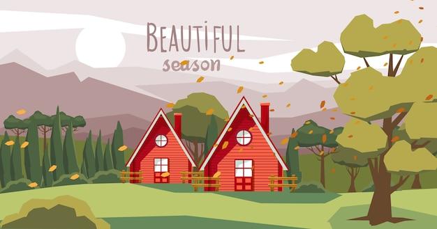 Twee boerderijen midden in het bos met gevallen oranje bladeren die door de wind worden meegevoerd. prachtig seizoen
