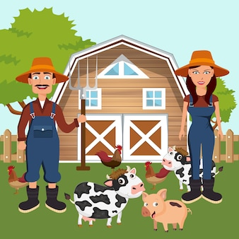 Twee boeren met dieren op het erf