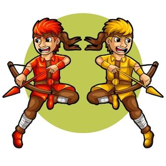 Twee boogschutter jongen vectorillustratie
