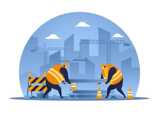 Twee bouwer werken samen opheffing van ijzeren staaf. bouwvakker plat ontwerp.