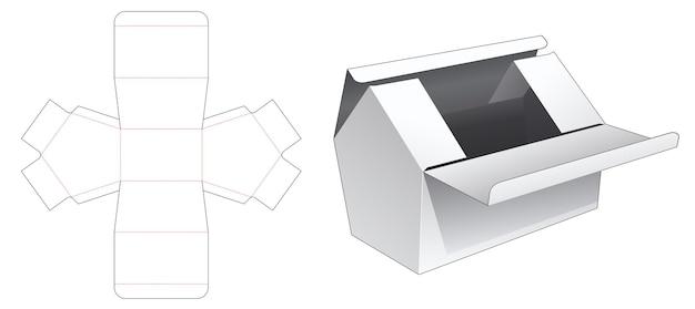 Twee bovenkant omdraait huisvormige doos gestanst sjabloon