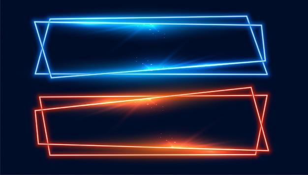 Twee brede neon frames banner in blauwe en oranje kleur