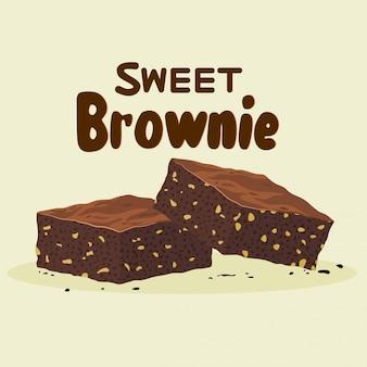 Twee brownie cake stukken als zelfgemaakte dessert voedsel illustratie